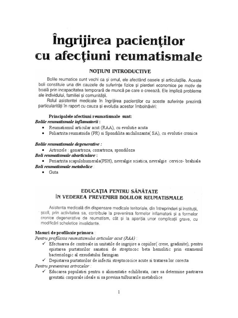 îngrijirea pacienților cu boli articulare)